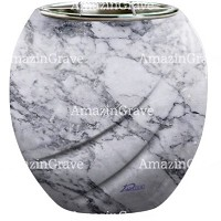 Flowers pot Soave 19cm - 7,5in In Carrara marble, steel inner