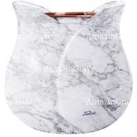 Flowers pot Tulipano 19cm - 7,5in In Carrara marble, copper inner