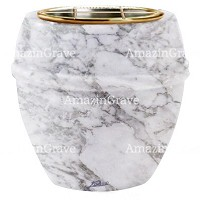 Flowers pot Chordè 19cm - 7,5in In Carrara marble, golden steel inner