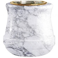 Flowers pot Calyx 19cm - 7,5in In Carrara marble, golden steel inner