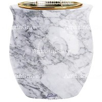Flowers pot Cuore 19cm - 7,5in In Carrara marble, golden steel inner
