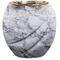 Flowers pot Soave 19cm - 7,5in In Carrara marble, golden steel inner