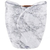 Flowers pot Gres 19cm - 7,5in In Carrara marble, copper inner