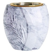 Flowers pot Spiga 19cm - 7,5in In Carrara marble, golden steel inner