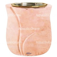 Flowers pot Charme 19cm - 7,5in In Rosa Bellissimo marble, golden steel inner