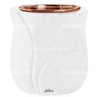 Flowers pot Leggiadra 19cm - 7,5in In Pure white marble, copper inner