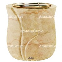 Flowers pot Charme 19cm - 7,5in In Botticino marble, golden steel inner
