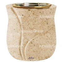 Flowers pot Charme 19cm - 7,5in In Calizia marble, golden steel inner