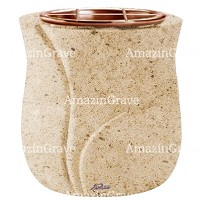 Flowers pot Leggiadra 19cm - 7,5in In Calizia marble, copper inner