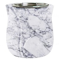 Flowers pot Charme 19cm - 7,5in In Carrara marble, steel inner