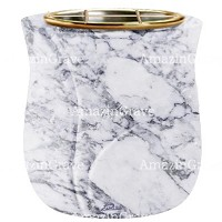 Flowers pot Charme 19cm - 7,5in In Carrara marble, golden steel inner