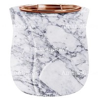 Flowers pot Leggiadra 19cm - 7,5in In Carrara marble, copper inner