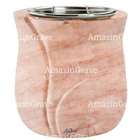 Flowers pot Charme 19cm - 7,5in In Pink Portugal marble, steel inner