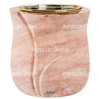 Flowers pot Charme 19cm - 7,5in In Pink Portugal marble, golden steel inner