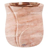 Flowers pot Leggiadra 19cm - 7,5in In Pink Portugal marble, copper inner