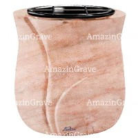 Flowers pot Charme 19cm - 7,5in In Pink Portugal marble, plastic inner