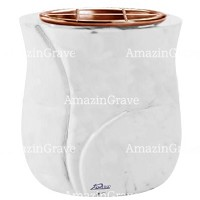 Flowers pot Leggiadra 19cm - 7,5in In Sivec marble, copper inner