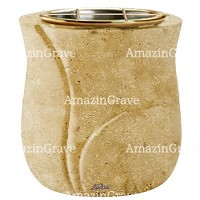 Flowers pot Charme 19cm - 7,5in In Trani marble, golden steel inner
