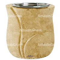 Flowers pot Charme 19cm - 7,5in In Trani marble, steel inner