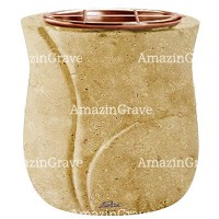 Flowers pot Charme 19cm - 7,5in In Trani marble, copper inner
