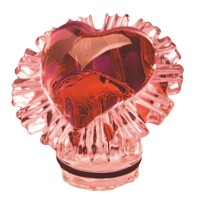 Red crystal heart 10cm - 3,9in Decorative flameshade for lamps