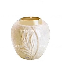 Base for grave lamp Spiga 10cm - 4in In Trani marble, with golden steel ferrule