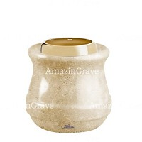 Base for grave lamp Calyx 10cm - 4in In Trani marble, with golden steel ferrule