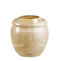 Base for grave lamp Amphòra 10cm - 4in In Trani marble, with golden steel ferrule