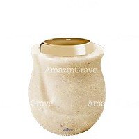 Base for grave lamp Gondola 10cm - 4in In Trani marble, with golden steel ferrule