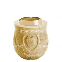 Base for grave lamp Cuore 10cm - 4in In Trani marble, with golden steel ferrule