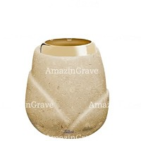 Base for grave lamp Liberti 10cm - 4in In Trani marble, with golden steel ferrule