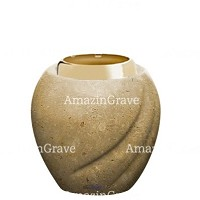 Base for grave lamp Soave 10cm - 4in In Trani marble, with golden steel ferrule