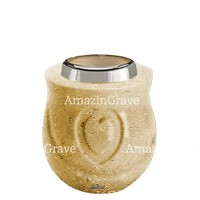 Base for grave lamp Cuore 10cm - 4in In Trani marble, with steel ferrule