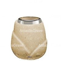 Base for grave lamp Liberti 10cm - 4in In Trani marble, with steel ferrule