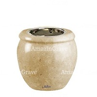 Base for grave lamp Amphòra 10cm - 4in In Trani marble, with recessed nickel plated ferrule