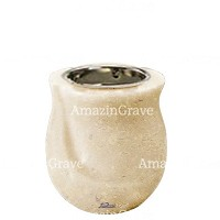 Base for grave lamp Gondola 10cm - 4in In Trani marble, with recessed nickel plated ferrule