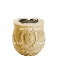 Base for grave lamp Cuore 10cm - 4in In Trani marble, with recessed nickel plated ferrule