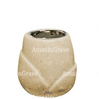 Base for grave lamp Liberti 10cm - 4in In Trani marble, with recessed nickel plated ferrule