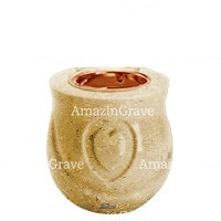 Base for grave lamp Cuore 10cm - 4in In Trani marble, with recessed copper ferrule