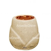 Base for grave lamp Liberti 10cm - 4in In Trani marble, with recessed copper ferrule