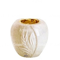 Base for grave lamp Spiga 10cm - 4in In Trani marble, with recessed golden ferrule