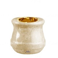 Base for grave lamp Calyx 10cm - 4in In Trani marble, with recessed golden ferrule