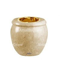 Base for grave lamp Amphòra 10cm - 4in In Trani marble, with recessed golden ferrule