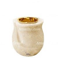 Base for grave lamp Gondola 10cm - 4in In Trani marble, with recessed golden ferrule