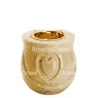 Base for grave lamp Cuore 10cm - 4in In Trani marble, with recessed golden ferrule
