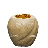 Base for grave lamp Soave 10cm - 4in In Trani marble, with recessed golden ferrule