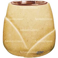 Flowers pot Liberti 19cm - 7,5in In Trani marble, copper inner
