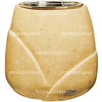 Flowers pot Liberti 19cm - 7,5in In Trani marble, golden steel inner