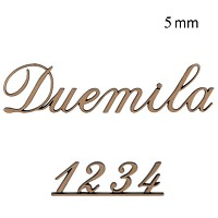 Letters and numbers Duemila, in various sizes Single fret-worked bronze plaque 5mm - 1,9in