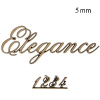 Letters and numbers Elegance, in various sizes Single fret-worked bronze plaque 5mm - 1,9in